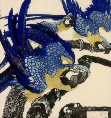 Ludwig Heinrich Jungnickel, Drei blaue Aras, 1909