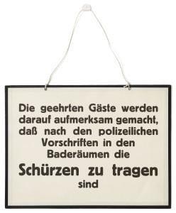 Anschlagtafel aus dem Esterhazy-Bad, 1927