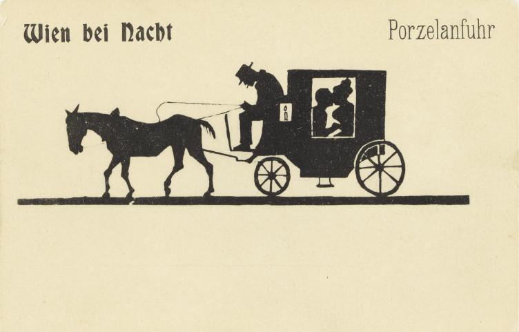 """Postkarte """"Wien bei Nacht - Porzelanfuhr"""", um 1900"""
