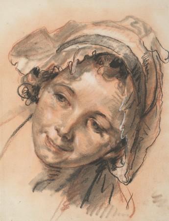 """Jean-Baptiste Greuze, """"Kopfstudie eines lächelnden Mädchens"""", um 1765"""