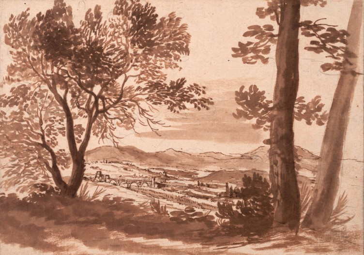 "Nicolas Poussin, ""Blick auf das Tibertal mit dem Ponte Molle"", um 1624"
