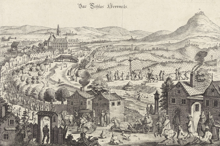 """Ansicht von Hernals, """"Auslaufen"""" der Wiener Protestanten zum Gottesdienst in die evangelische Hochburg, 1649"""