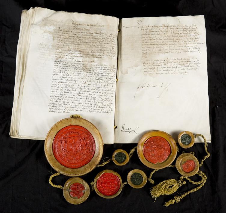 Der Augsburger Religionsfriede 1555, Original mit Unterschrift Ferdinands I.