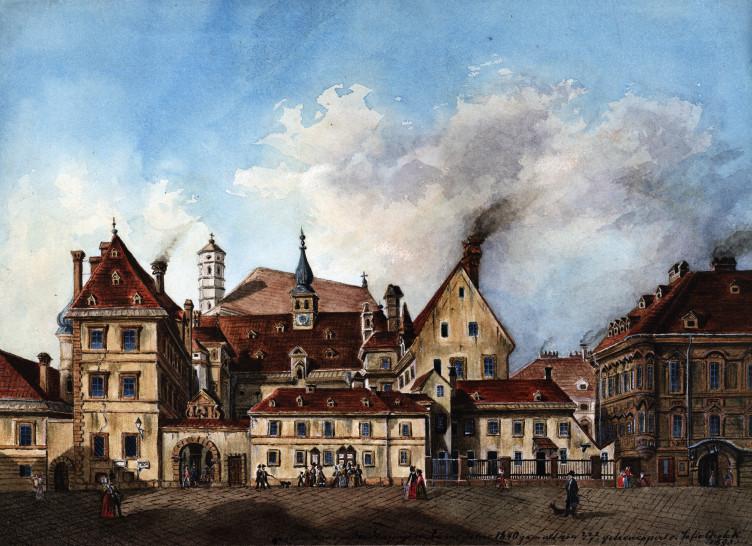 Das alte Landhaus in der Herrengasse, ein wichtiges Zentrum der Protestanten (historische Darstellung aus dem 19. Jhdt.)