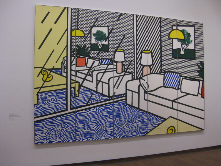"Roy Liechtenstein, ""Wallpaper with Blue Floor Interior"", 1992"