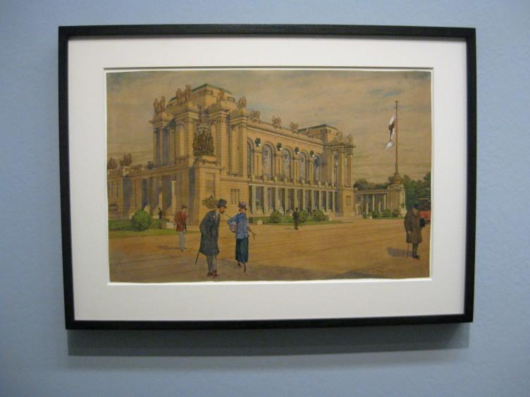 Max Hegele. Perspektive für den architektonischen Abschluss des Schottenrings in Wien, 1915