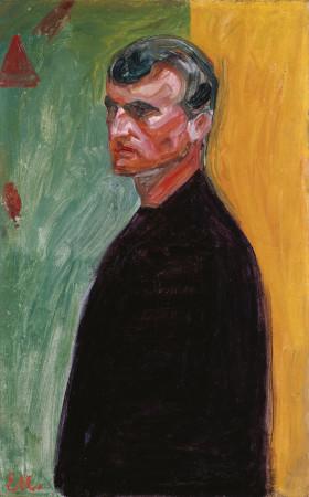 Edvard Munch, Selbstporträt vor zweifarbigem Hintergrund, 1904
